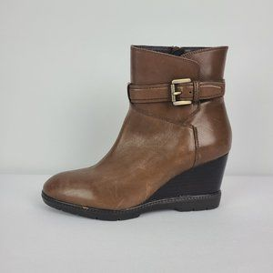 Geox Brown Leather Wedge Booties Size 7.5